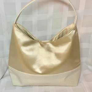 Handbags - Unbranded gold sateen, white faux viper skin bag